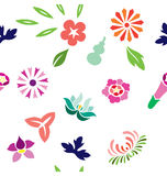 Japanese Spring Pattern. Seamless pattern of varieties of flowers illustrated in Japanese style Stock Photography