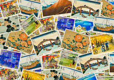 Japanese Stamps. Collage of Japanese postage stamps - a very colorful background Stock Image