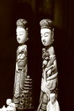 Japanese statuettes. Black and white Royalty Free Stock Photography