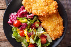 Japanese steak in breadcrumbs Panko and fresh vegetable salad cl Stock Photos