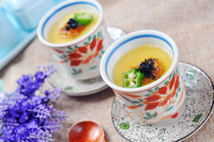 Japanese steamed custard Stock Images