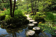 Japanese stepping stones Royalty Free Stock Photos