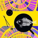 Japanese still life - fish, chopsticks and tea. Royalty Free Stock Photo