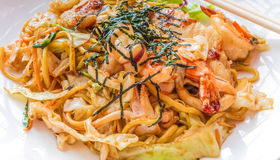Japanese stir fried noodle or Yakisoba. With assorted seafood Stock Images