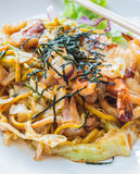 Japanese stir fried noodle or Yakisoba. With assorted seafood Stock Photos