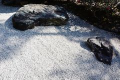 Japanese stone garden. A stone garden in a Japanese shrine or temple. The thought of Zen stock image