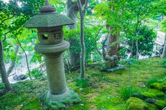 The Japanese stone lantern in forest image background. Royalty Free Stock Photos