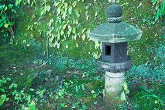 The Japanese stone lantern in forest image background. Stock Photography