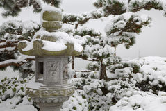 Japanese Stone Lantern Snow Stock Photography