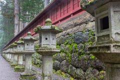 Japanese stone lanterns. Traditional Japanese stone lantern called toro. Located around Nikko shrines and temples. Tochigi Prefecture, Japan Stock Photos