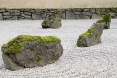 Japanese Stone and Sand Garden Closeup Royalty Free Stock Photos