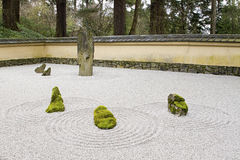 Japanese Stone and Sand Garden Tiled Roof Wall Stock Images