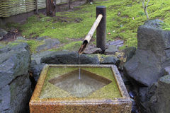Japanese Stone Water Basin Square. Square Stone Water Basin at Portland Japanese Garden Stock Images