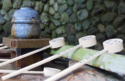 Japanese stone water basin Royalty Free Stock Photo