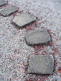 Japanese stone way. The way from single paved stones in Japanese stone-garden Royalty Free Stock Photos