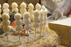 Japanese Street Food Dango rice dumpling sweet dish. At Tokyo food stall Royalty Free Stock Photo