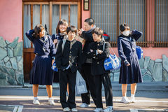 Japanese Students in Kyoto Stock Image