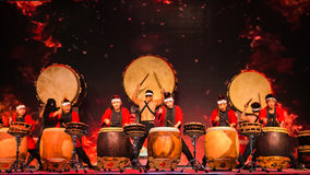 Japanese students perform Japanese traditional `Taiko` drum Stock Image