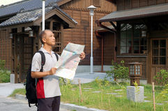 Japanese-style architecture and visitor Stock Photo