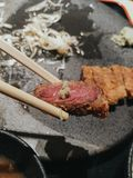 Japanese style breaded fried beef. Also called stock photo