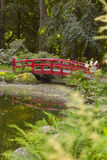 Japanese style bridge in garden Stock Image