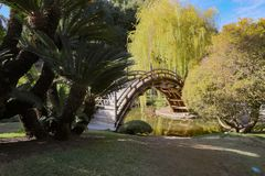 Japanese Bridge Span. A Japanese style bridge spans a pond at the Huntington Library in Pasadena, California stock photography