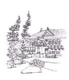 Japanese style building pen drawing illustration Royalty Free Stock Image