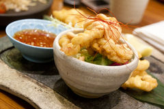 Japanese style calamari. Fried squid with chili powder and Japanese sauce Royalty Free Stock Images