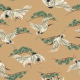 Japanese style crane pattern Royalty Free Stock Photos