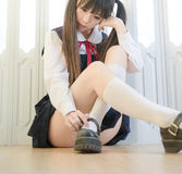Japanese style cute school girl indoor home woman. Is japanese style cute school girl indoor home woman stock photos