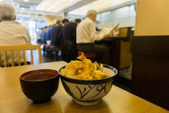 Japanese Style Deep Fried Shrimp Recipe at a restaurant. With people in the background Stock Photography