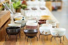 Japanese style designed stoneware pot plant ceramic pottery Royalty Free Stock Image