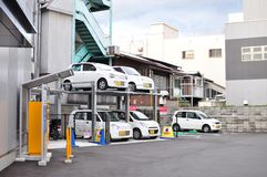 Japanese style double-deck parking system stock photos