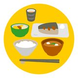 Japanese style fish dish meal. Rice, miso soup, illustration Royalty Free Stock Images