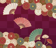 Japanese style floral pattern with chrysanthemums and hand fan Stock Photos