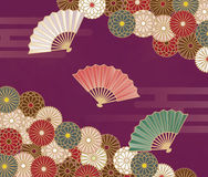 Japanese style floral pattern with chrysanthemums and hand fan Stock Photography