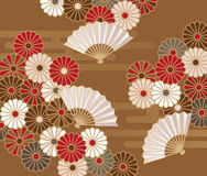 Japanese style floral pattern with chrysanthemums Royalty Free Stock Photos