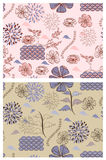 Japanese style  floral patterns. Japanese style seamless spring floral patterns Royalty Free Stock Photography