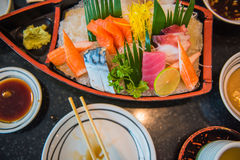 Japanese  style  food .fresh  raw fish mixed ,sashimi.  Royalty Free Stock Photos