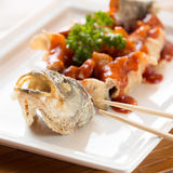 Japanese style fried sea bass, served with sweet and sour sauce Stock Photo