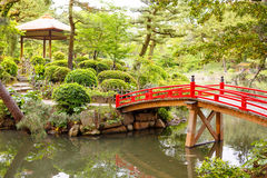 Japanese style garden in Hiroshima, Japan Stock Photos