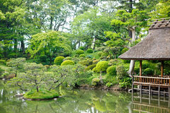 Japanese style garden in Hiroshima, Japan Royalty Free Stock Photo