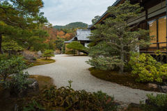 Japanese style garden house backyard pathway Royalty Free Stock Images