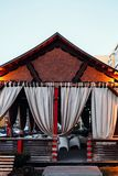 Japanese style gazebo with light curtains in the street royalty free stock photography