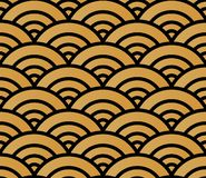 Japanese style golden seamless pattern background image round curve cross scale wave vector illustration