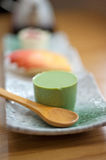 Japanese style green tea pudding Stock Image