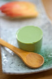 Japanese style green tea pudding Stock Photography
