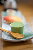 Japanese style green tea pudding Royalty Free Stock Images