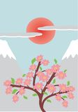 Japanese style illustration. With cherry tree Royalty Free Stock Images