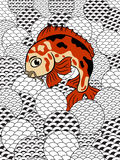 Japanese style koi in waves royalty free stock photos